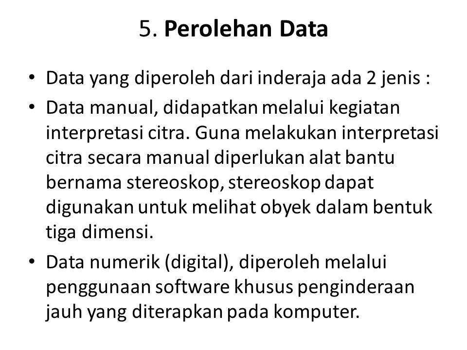 5. Perolehan Data Data yang diperoleh dari inderaja ada 2 jenis :