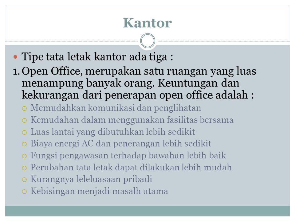 Kantor Tipe tata letak kantor ada tiga :