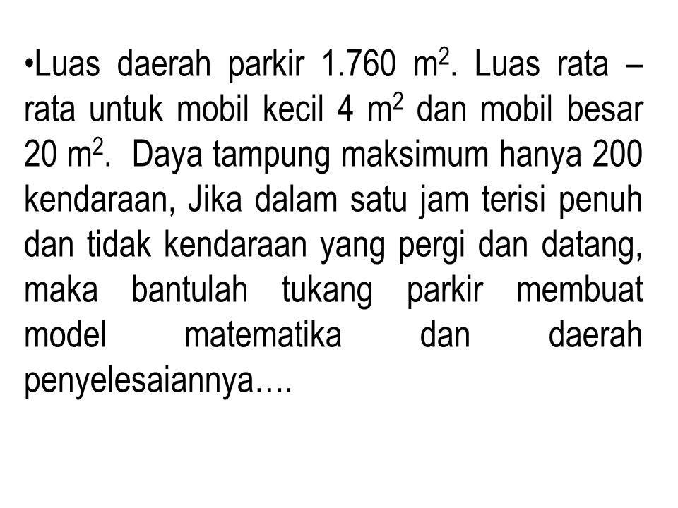 Luas daerah parkir 1.760 m2. Luas rata – rata untuk mobil kecil 4 m2 dan mobil besar 20 m2.
