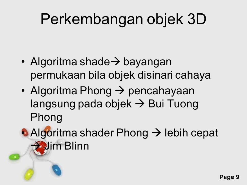 Perkembangan objek 3D Algoritma shade bayangan permukaan bila objek disinari cahaya.