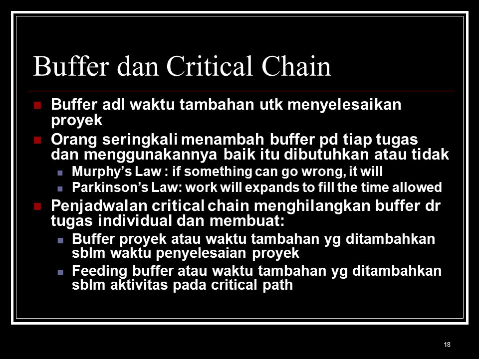 Buffer dan Critical Chain