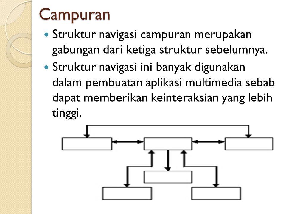 Campuran Struktur navigasi campuran merupakan gabungan dari ketiga struktur sebelumnya.