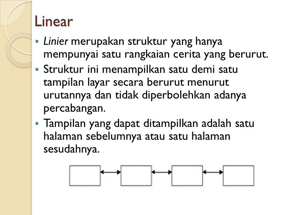Linear Linier merupakan struktur yang hanya mempunyai satu rangkaian cerita yang berurut.