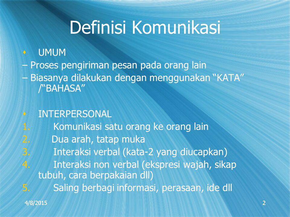 Definisi Komunikasi UMUM – Proses pengiriman pesan pada orang lain