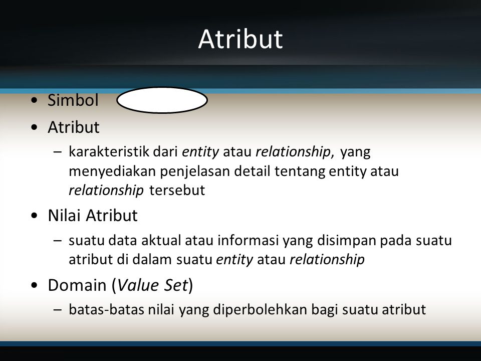 Atribut Simbol Atribut Nilai Atribut Domain (Value Set)