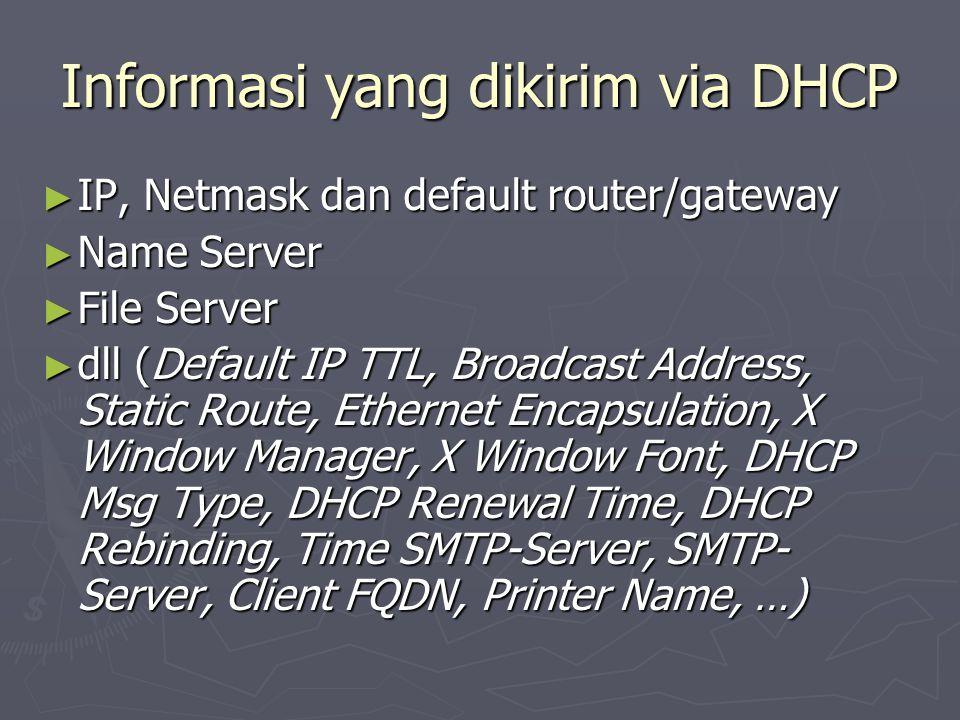Informasi yang dikirim via DHCP