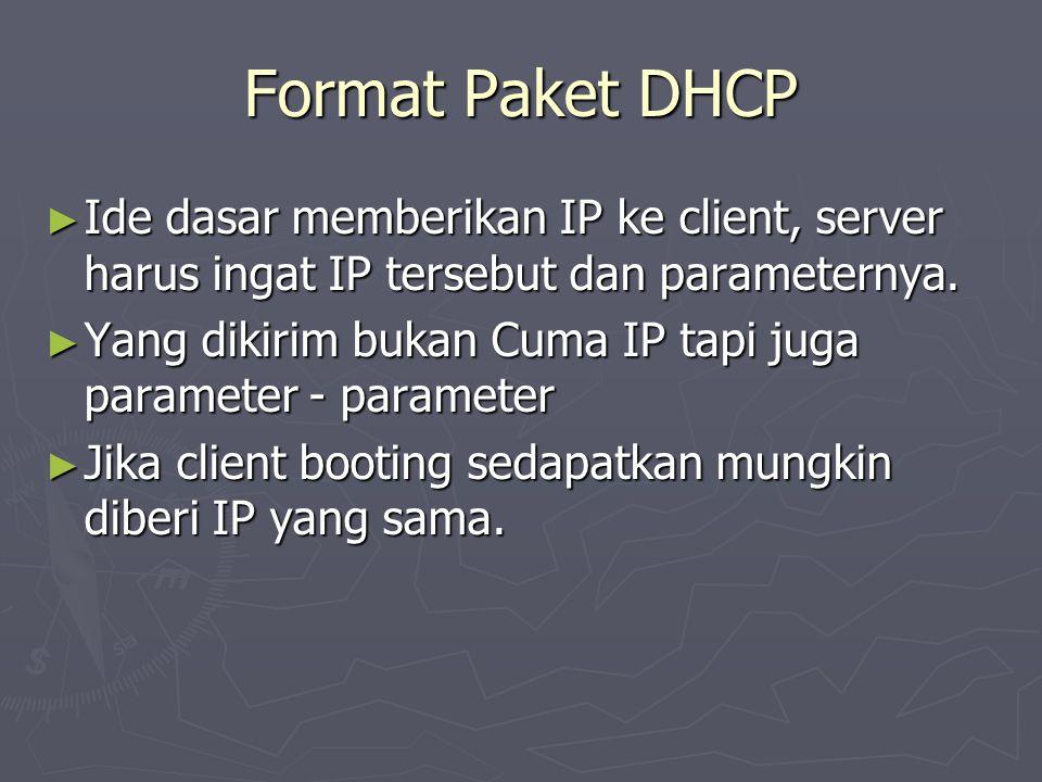 Format Paket DHCP Ide dasar memberikan IP ke client, server harus ingat IP tersebut dan parameternya.