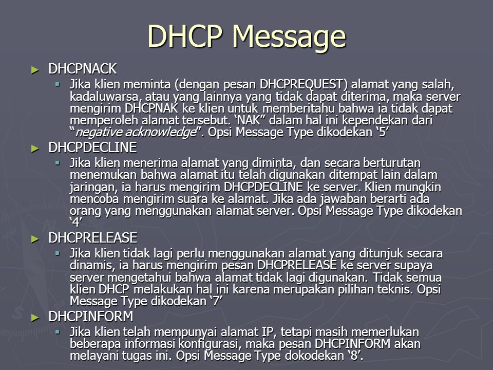 DHCP Message DHCPNACK DHCPDECLINE DHCPRELEASE DHCPINFORM