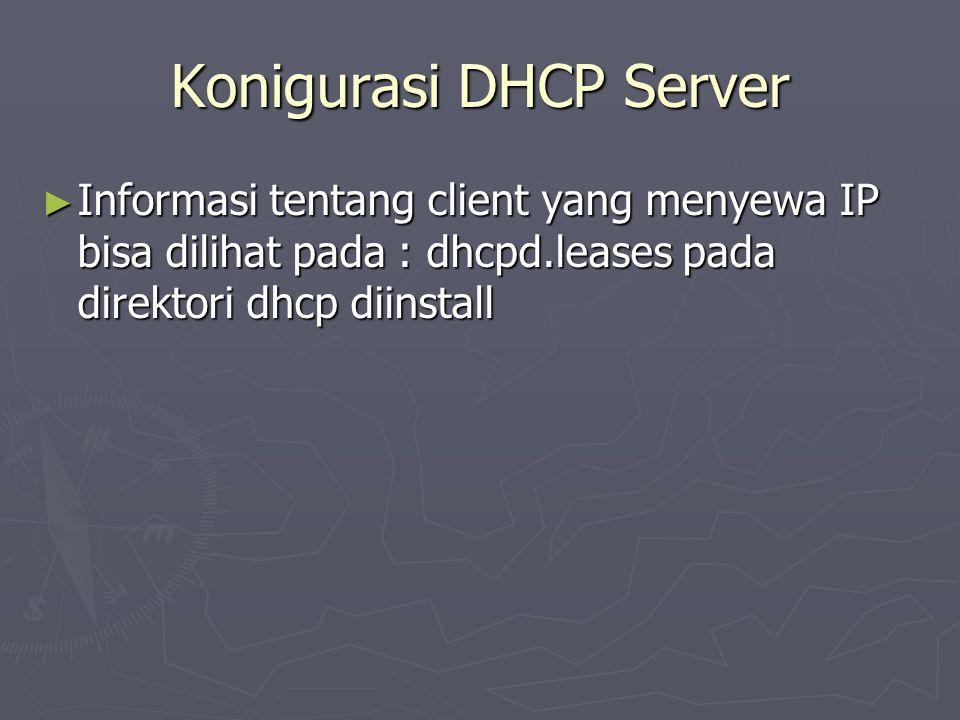 Konigurasi DHCP Server