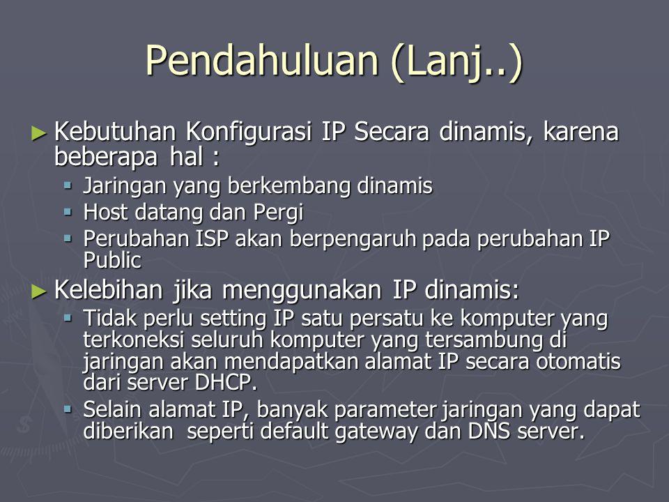 Pendahuluan (Lanj..) Kebutuhan Konfigurasi IP Secara dinamis, karena beberapa hal : Jaringan yang berkembang dinamis.