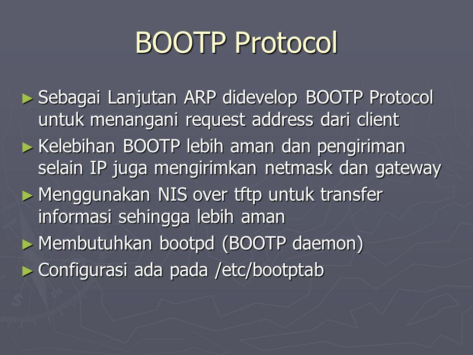 BOOTP Protocol Sebagai Lanjutan ARP didevelop BOOTP Protocol untuk menangani request address dari client.