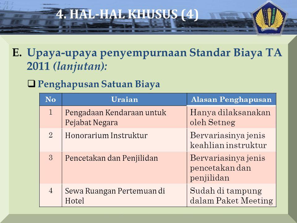4. HAL-HAL KHUSUS (4) Upaya-upaya penyempurnaan Standar Biaya TA 2011 (lanjutan): Penghapusan Satuan Biaya.
