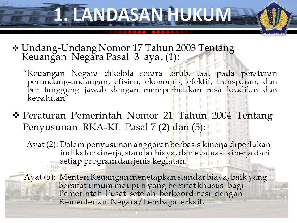 1. LANDASAN HUKUM Keuangan Negara Pasal 3 ayat (1):