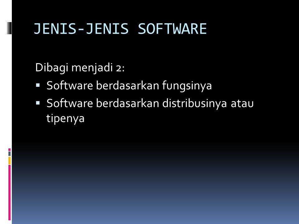 JENIS-JENIS SOFTWARE Dibagi menjadi 2: Software berdasarkan fungsinya