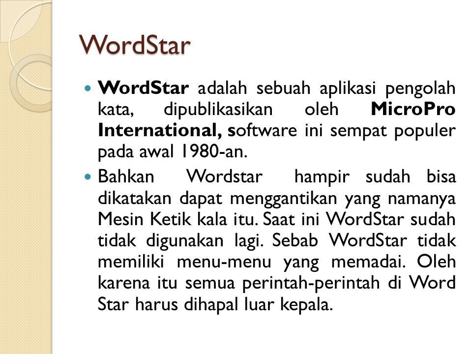 WordStar WordStar adalah sebuah aplikasi pengolah kata, dipublikasikan oleh MicroPro International, software ini sempat populer pada awal 1980-an.