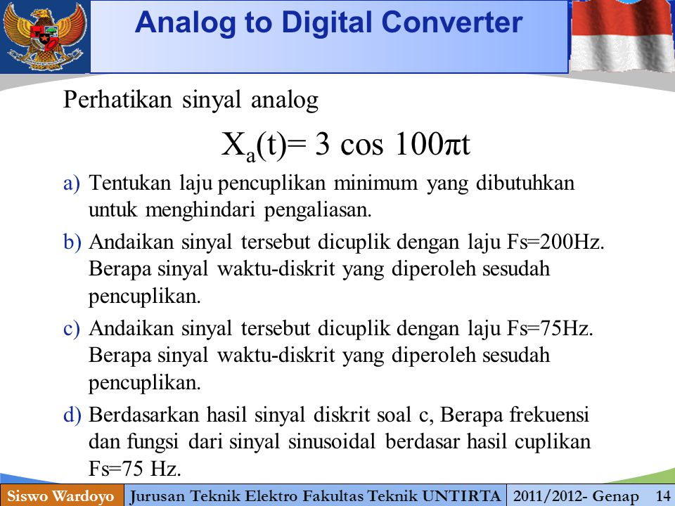 Xa(t)= 3 cos 100πt Analog to Digital Converter