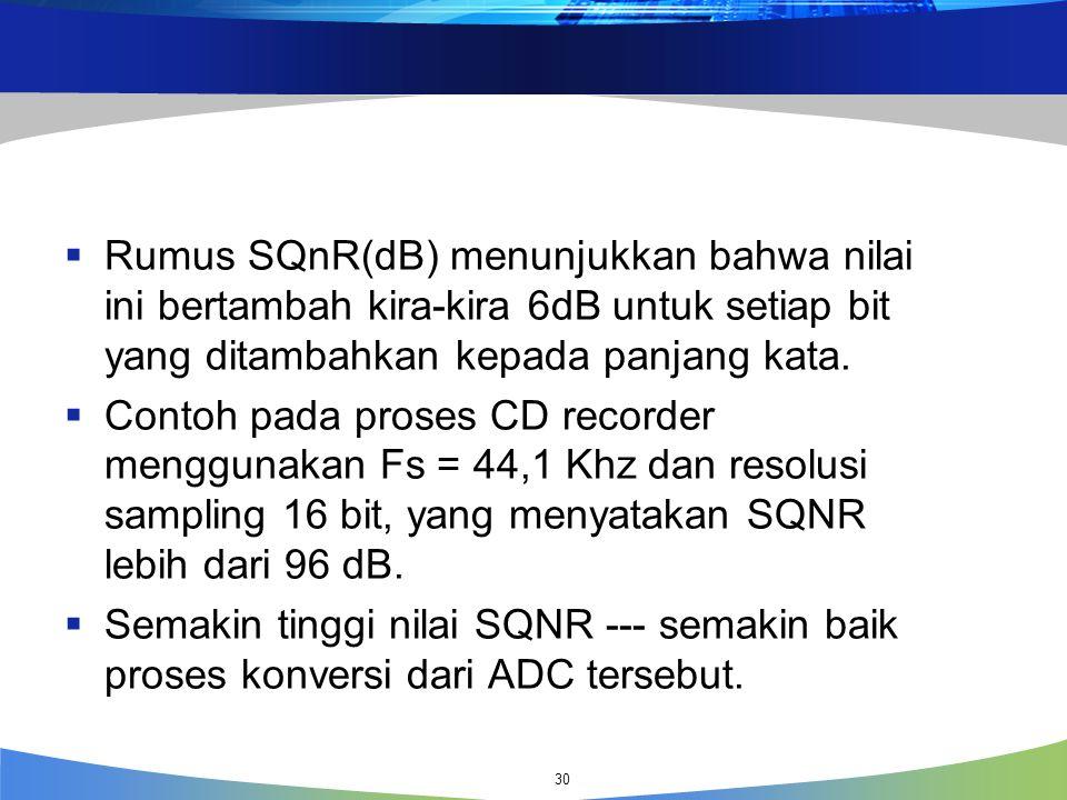 Rumus SQnR(dB) menunjukkan bahwa nilai ini bertambah kira-kira 6dB untuk setiap bit yang ditambahkan kepada panjang kata.
