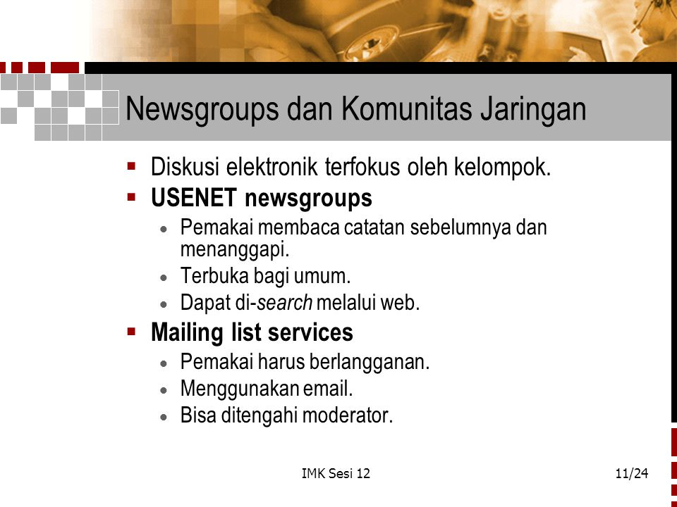 Newsgroups dan Komunitas Jaringan