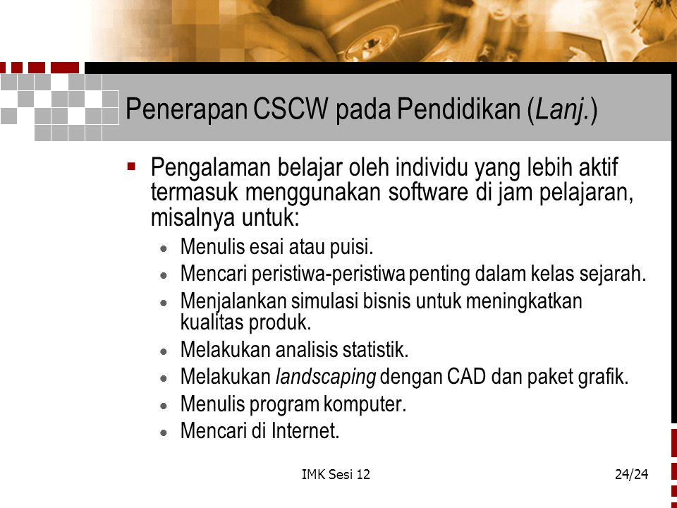 Penerapan CSCW pada Pendidikan (Lanj.)