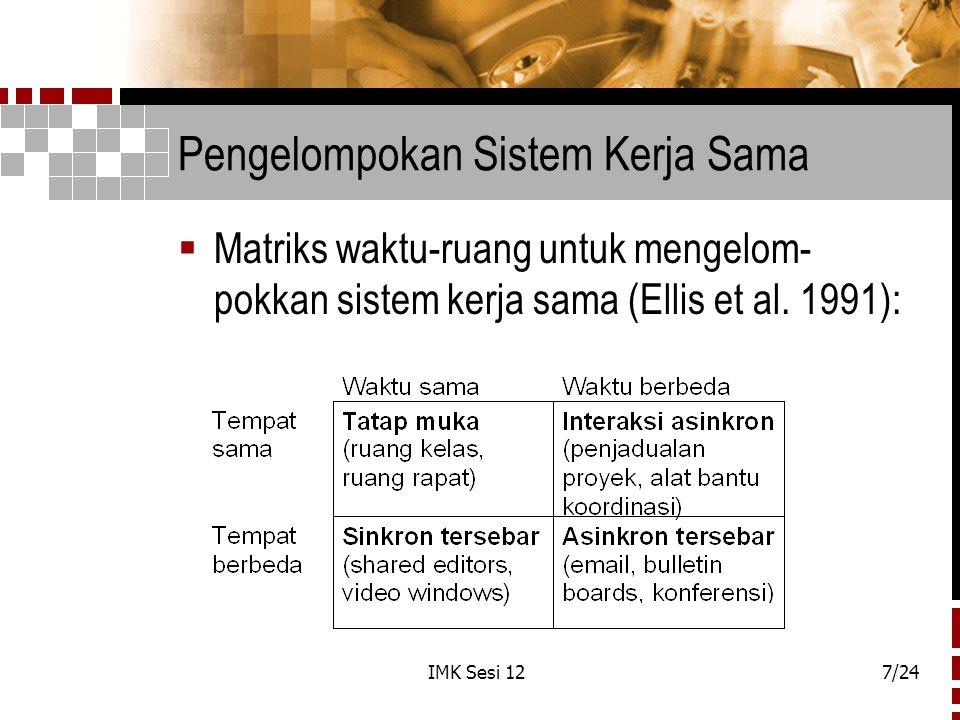 Pengelompokan Sistem Kerja Sama