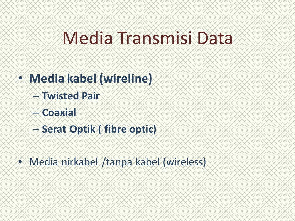 Media Transmisi Data Media kabel (wireline) Twisted Pair Coaxial