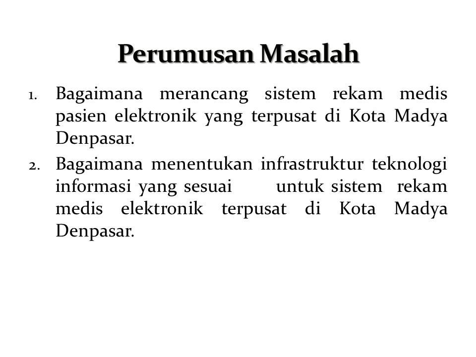 Perumusan Masalah Bagaimana merancang sistem rekam medis pasien elektronik yang terpusat di Kota Madya Denpasar.