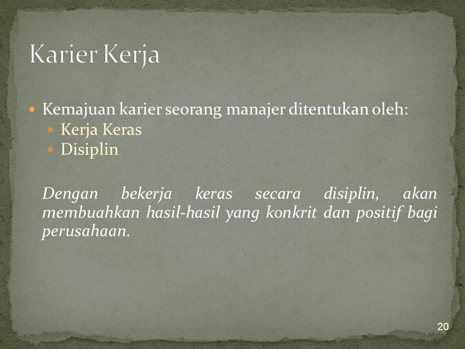 Karier Kerja Kemajuan karier seorang manajer ditentukan oleh: Kerja Keras. Disiplin.