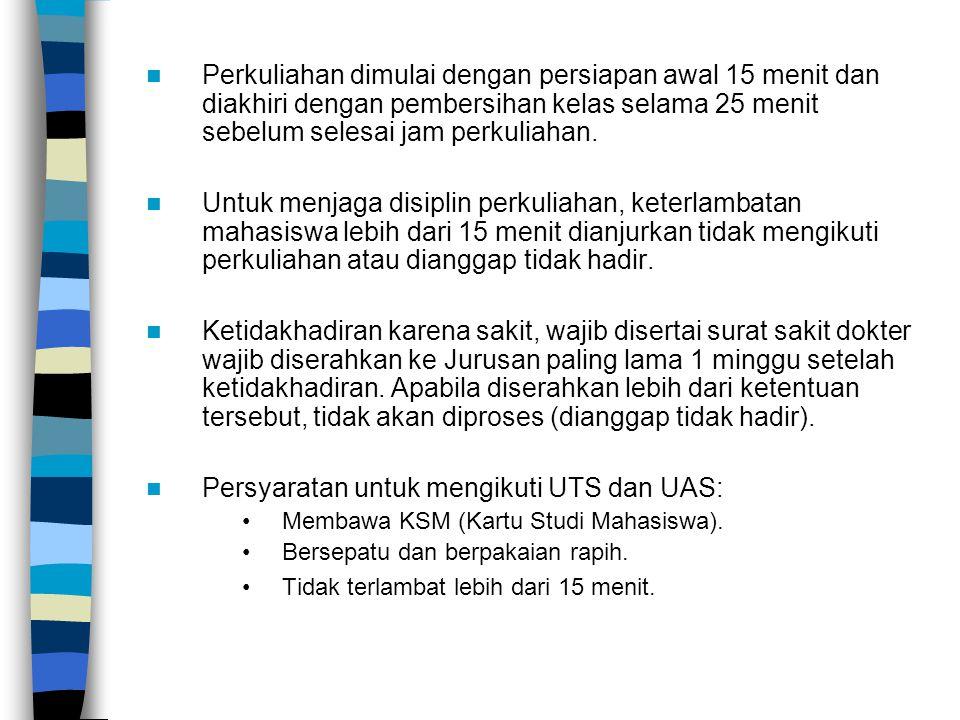 Persyaratan untuk mengikuti UTS dan UAS: