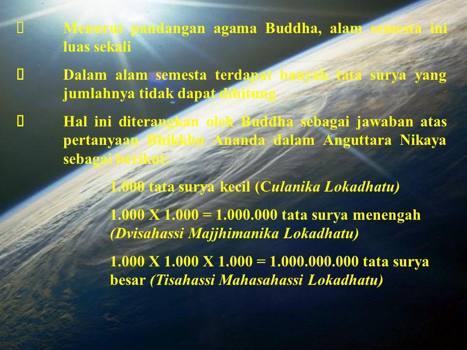 Ø Menurut pandangan agama Buddha, alam semesta ini luas sekali