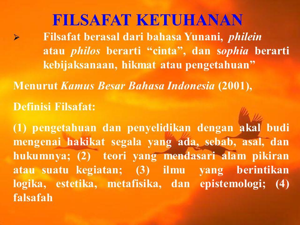 FILSAFAT KETUHANAN Menurut Kamus Besar Bahasa Indonesia (2001),