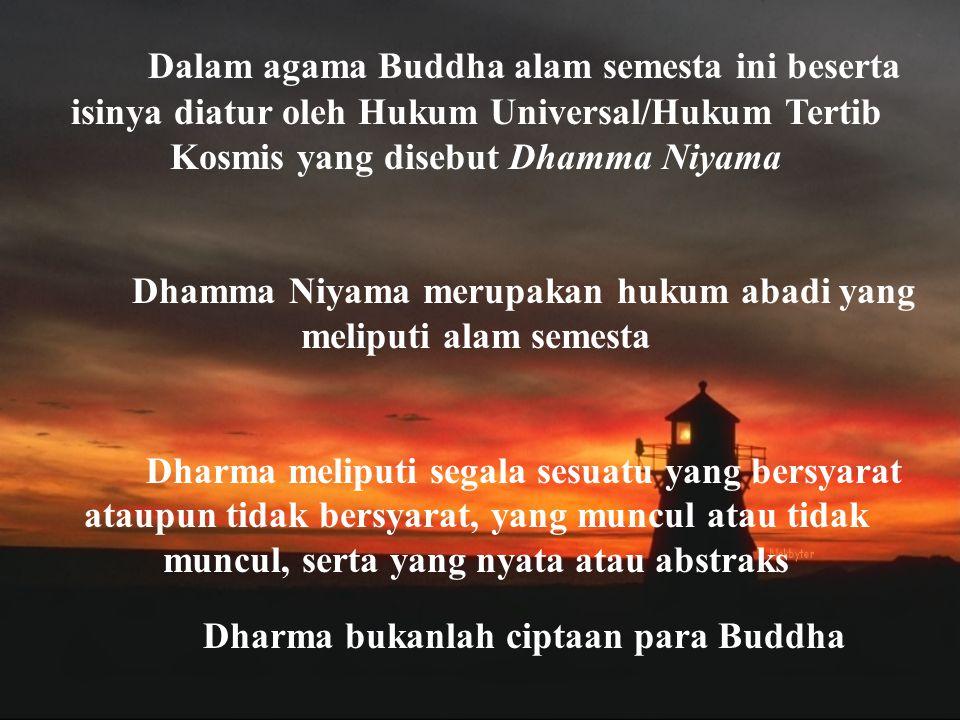 Dalam agama Buddha alam semesta ini beserta isinya diatur oleh Hukum Universal/Hukum Tertib Kosmis yang disebut Dhamma Niyama