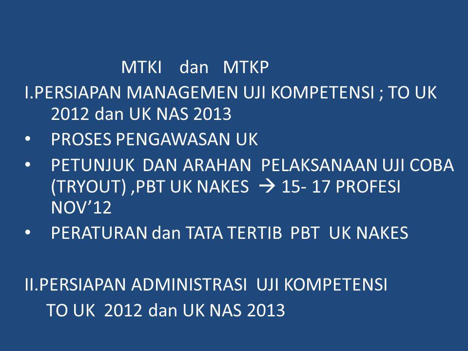 MTKI dan MTKP I.PERSIAPAN MANAGEMEN UJI KOMPETENSI ; TO UK 2012 dan UK NAS 2013. PROSES PENGAWASAN UK.
