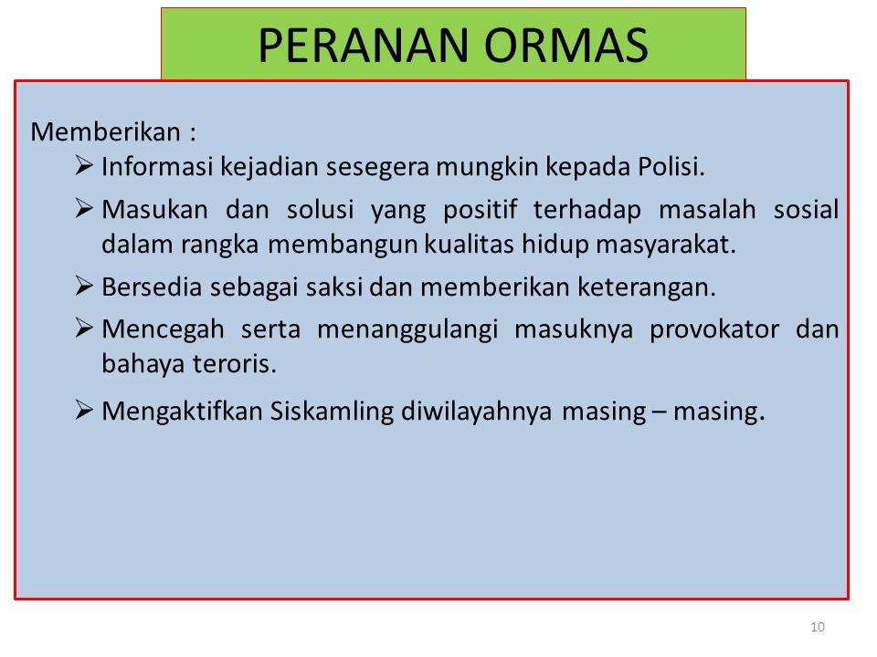 PERANAN ORMAS Memberikan :