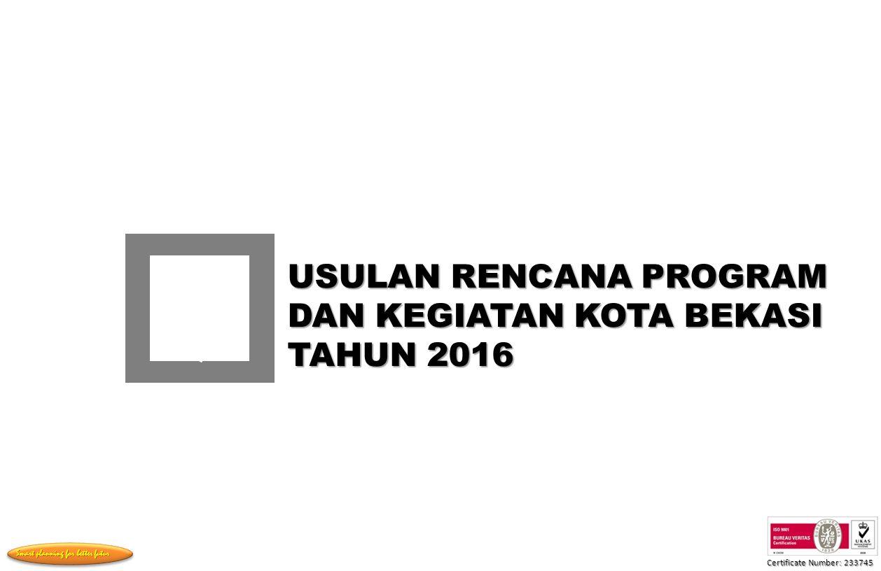 USULAN RENCANA PROGRAM DAN KEGIATAN KOTA BEKASI TAHUN 2016