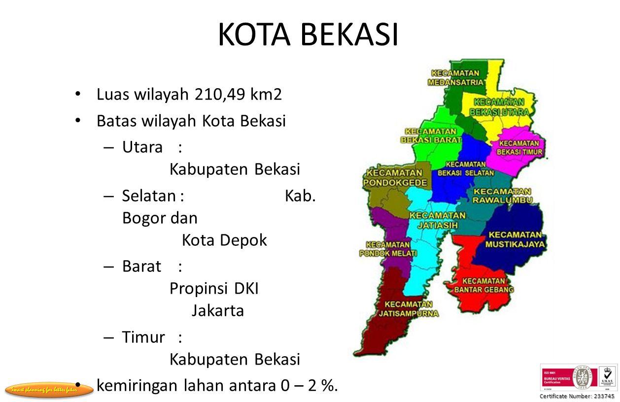 KOTA BEKASI Luas wilayah 210,49 km2 Batas wilayah Kota Bekasi
