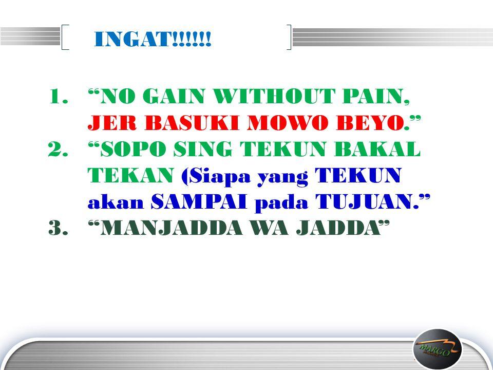 INGAT!!!!!! NO GAIN WITHOUT PAIN, JER BASUKI MOWO BEYO. SOPO SING TEKUN BAKAL TEKAN (Siapa yang TEKUN akan SAMPAI pada TUJUAN.