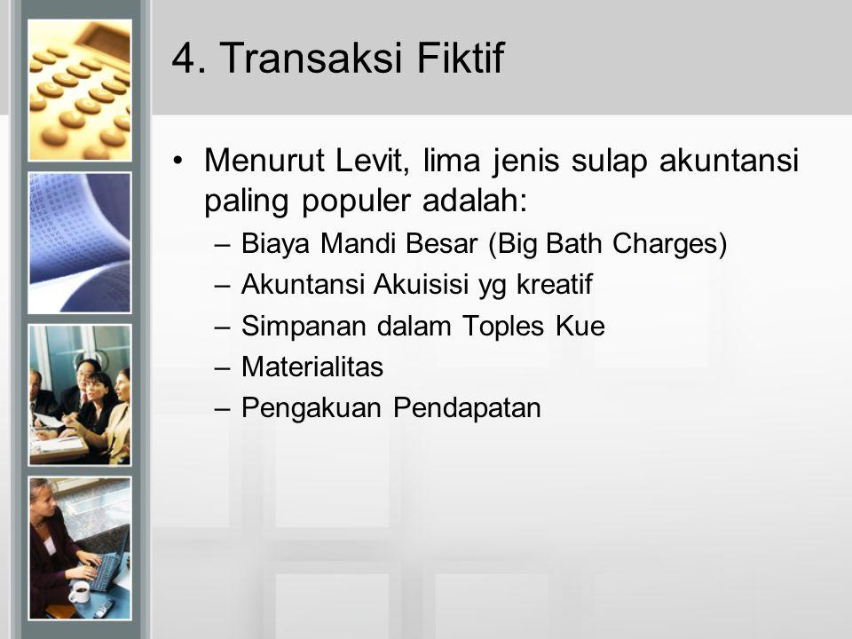 4. Transaksi Fiktif Menurut Levit, lima jenis sulap akuntansi paling populer adalah: Biaya Mandi Besar (Big Bath Charges)