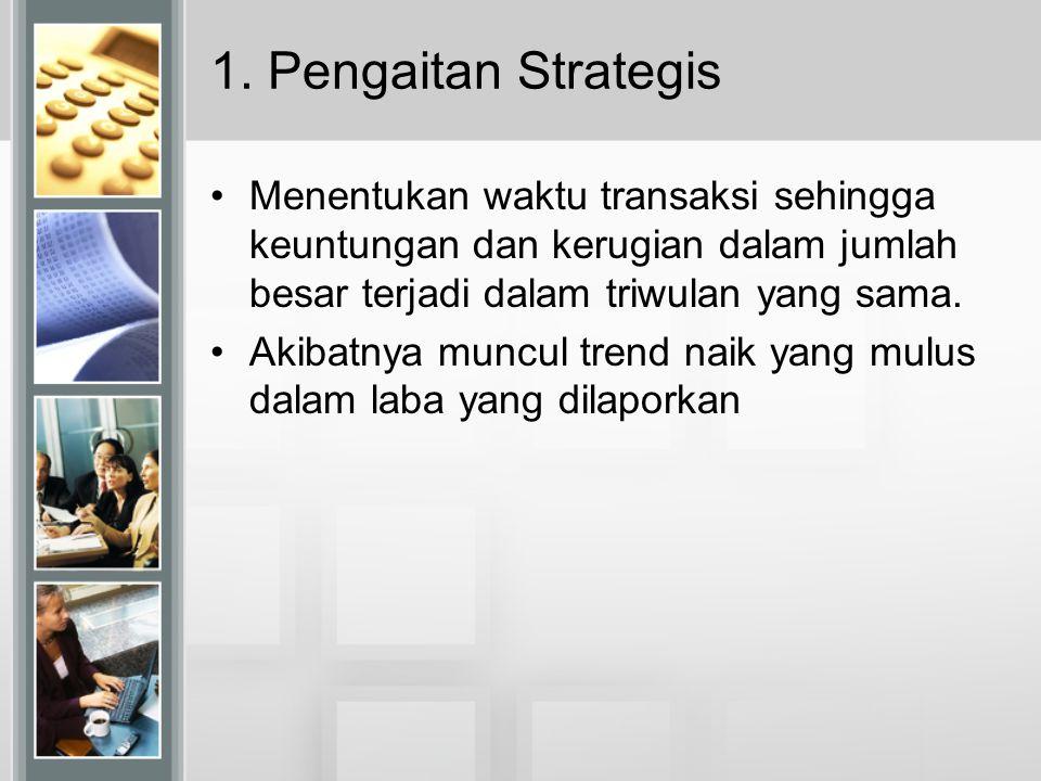 1. Pengaitan Strategis Menentukan waktu transaksi sehingga keuntungan dan kerugian dalam jumlah besar terjadi dalam triwulan yang sama.