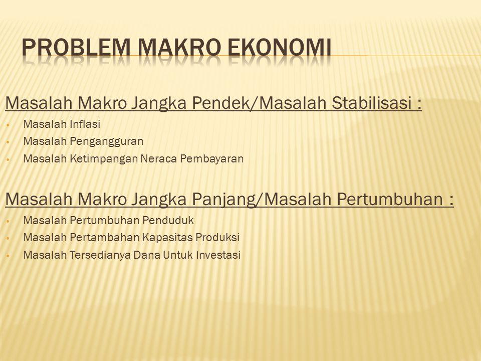 PROBLEM MAKRO EKONOMI Masalah Makro Jangka Pendek/Masalah Stabilisasi : Masalah Inflasi. Masalah Pengangguran.