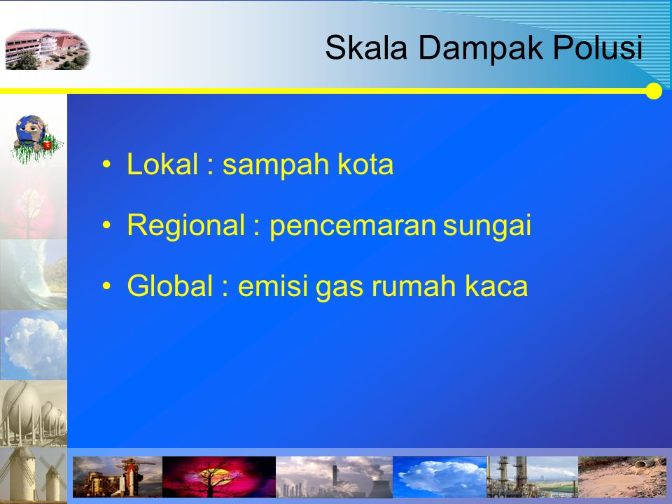 Skala Dampak Polusi Lokal : sampah kota Regional : pencemaran sungai