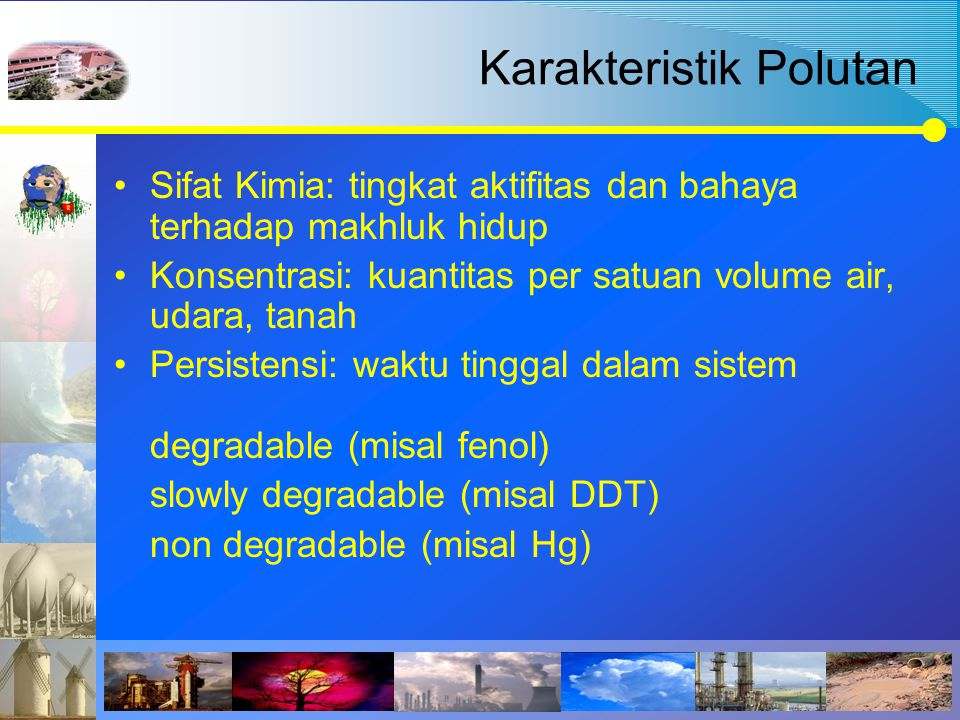 Karakteristik Polutan