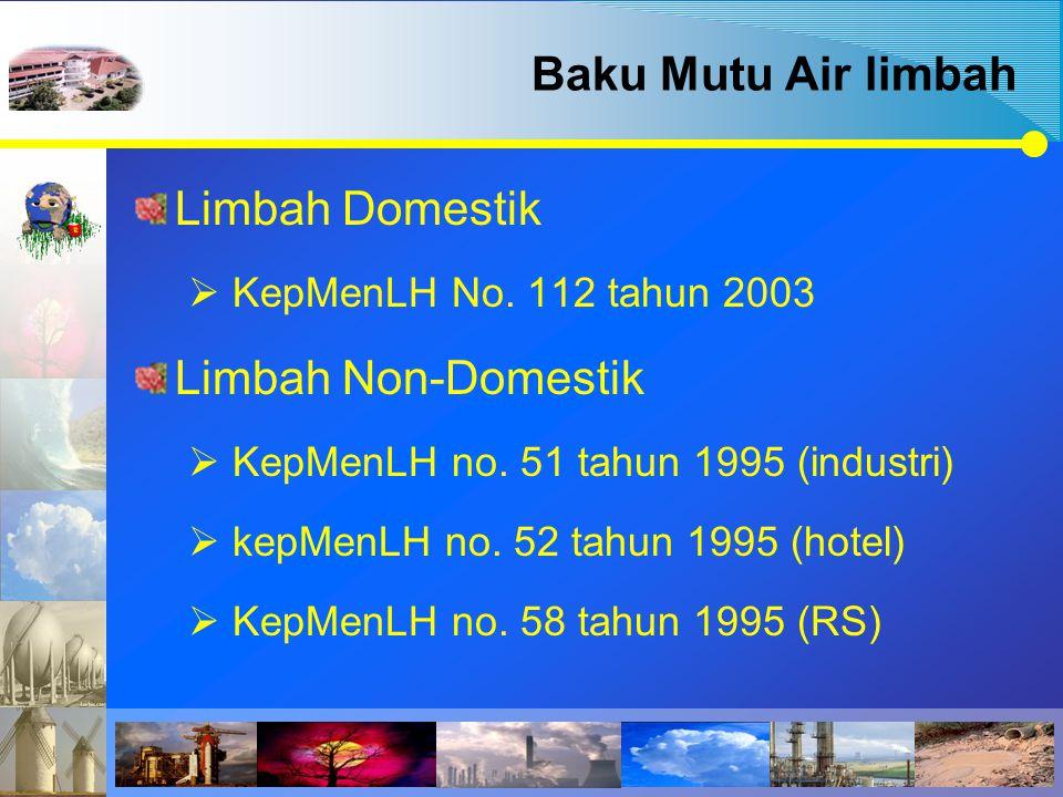 Baku Mutu Air limbah Limbah Domestik Limbah Non-Domestik