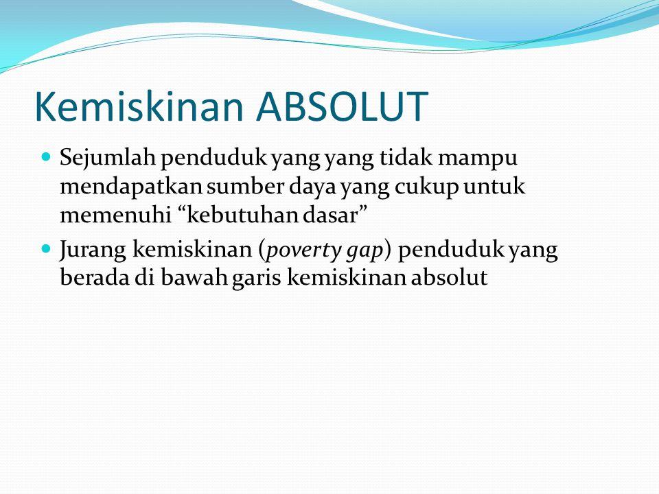 Kemiskinan ABSOLUT Sejumlah penduduk yang yang tidak mampu mendapatkan sumber daya yang cukup untuk memenuhi kebutuhan dasar