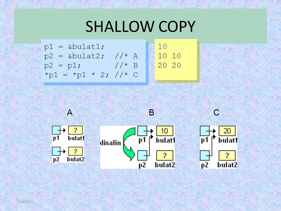 SHALLOW COPY A B C p1 = &bulat1; 10 p2 = &bulat2; //* A 10 10