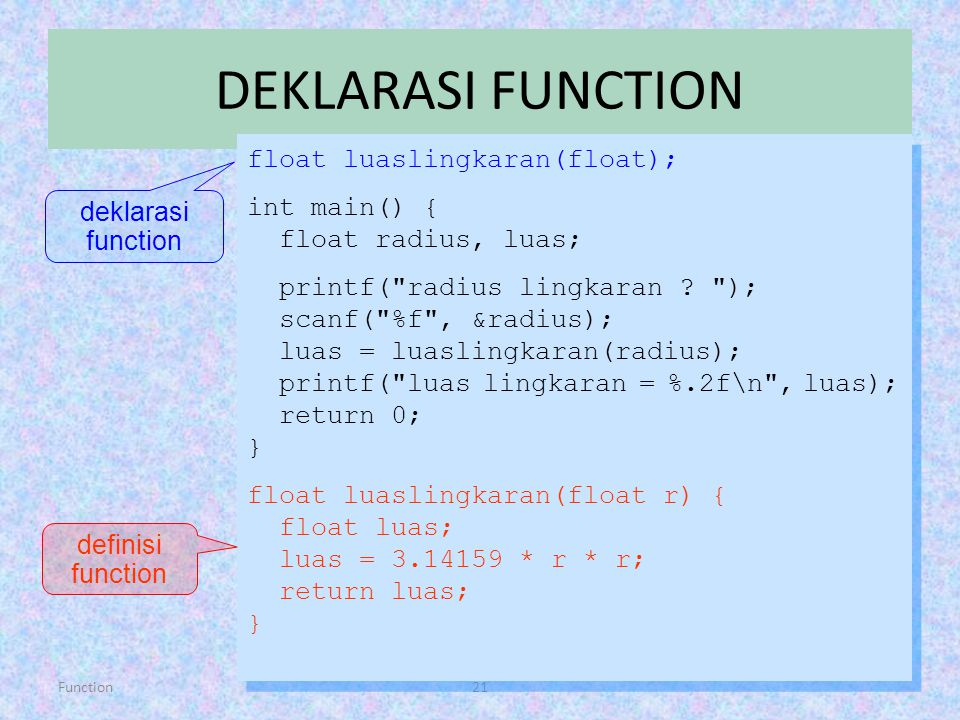 DEKLARASI FUNCTION float luaslingkaran(float); int main() {