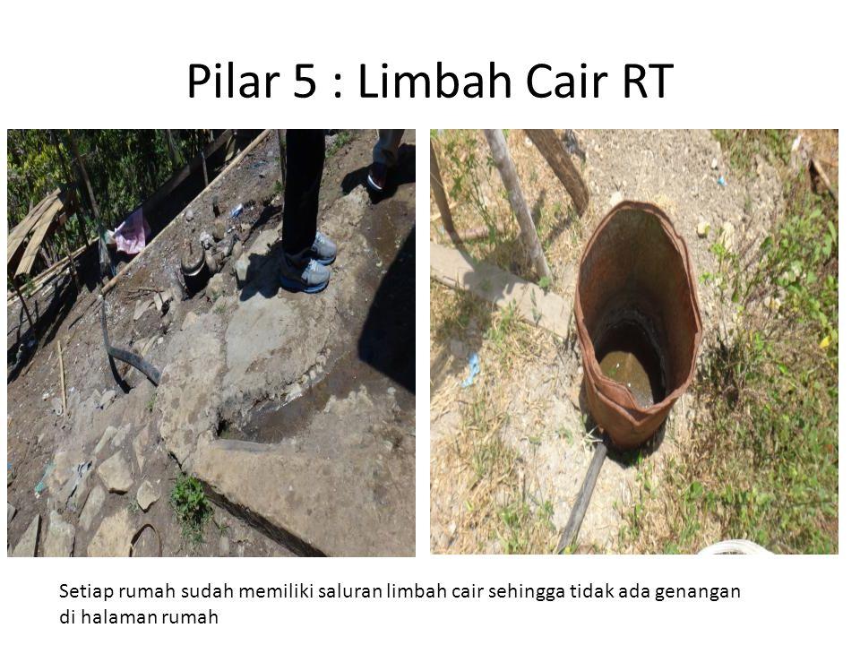 Pilar 5 : Limbah Cair RT Setiap rumah sudah memiliki saluran limbah cair sehingga tidak ada genangan.
