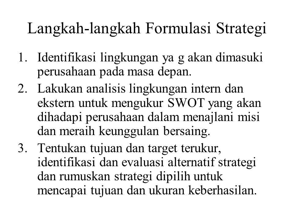 Langkah-langkah Formulasi Strategi
