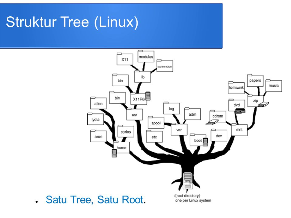 Struktur Tree (Linux) Satu Tree, Satu Root.