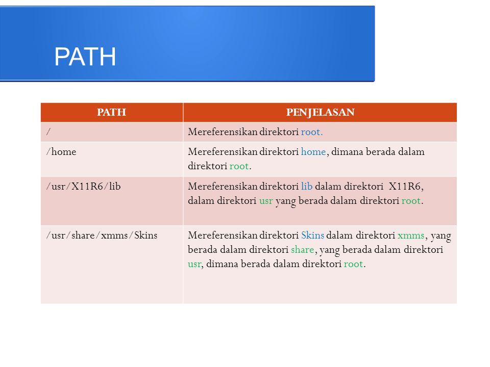 PATH PATH PENJELASAN / Mereferensikan direktori root. /home