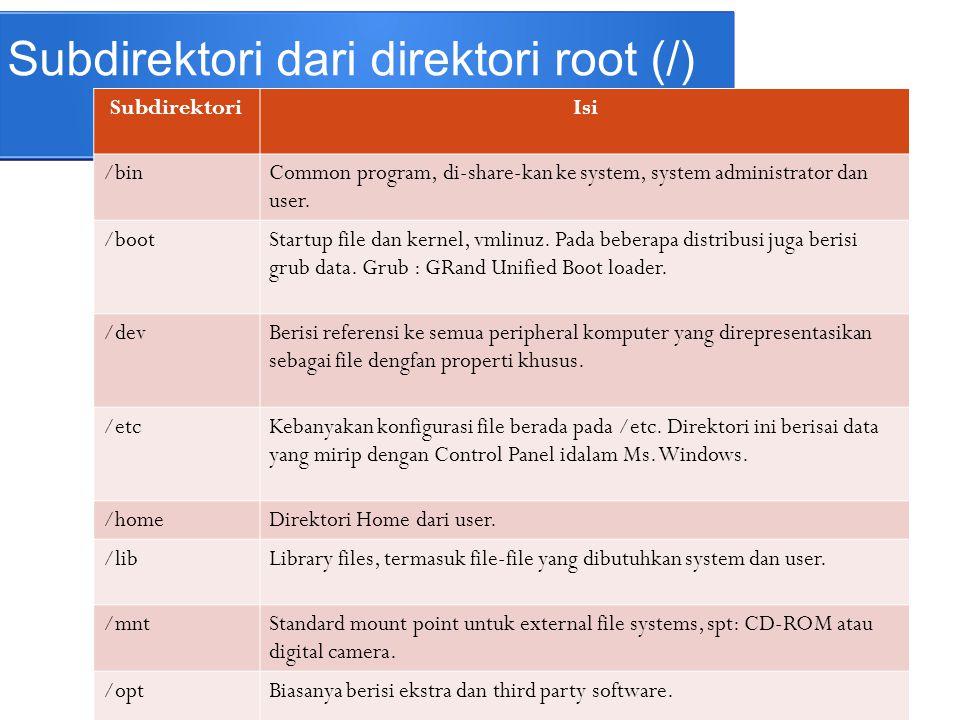 Subdirektori dari direktori root (/)